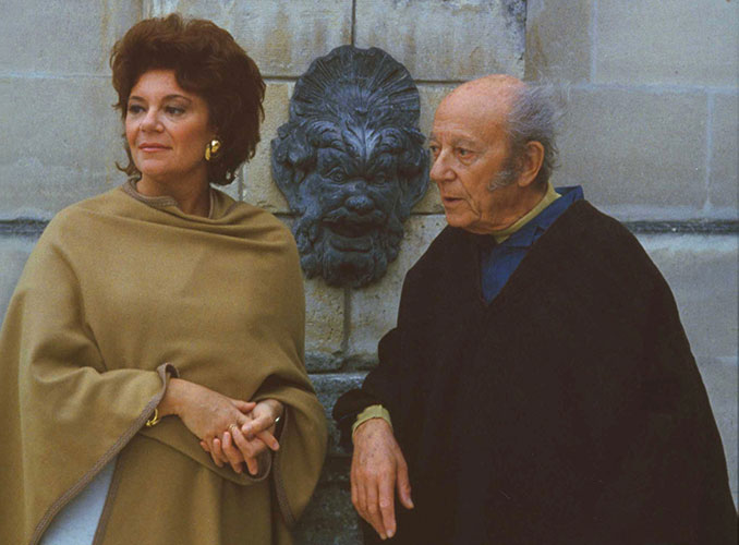 <p>Baroness Philippine de Rothschild and Baron Philippe at Mouton in 1984, before the Silenus Fountain.</p>