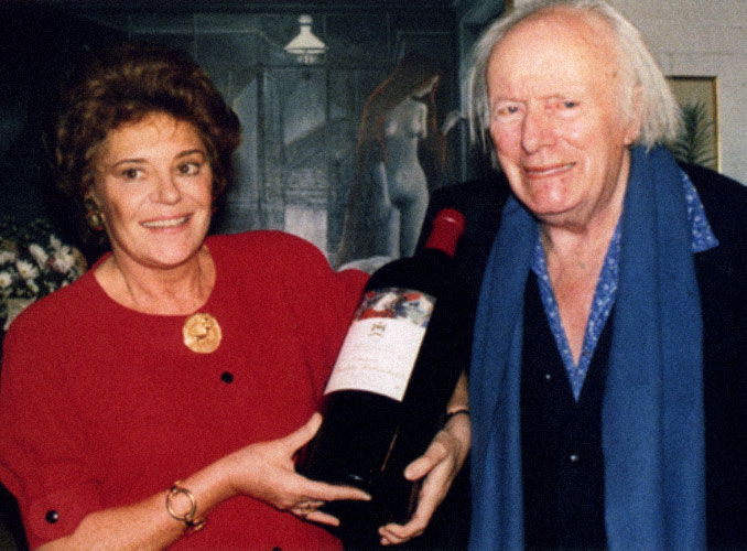 <p>Baroness Philippine de Rothschild with the painter Paul Delvaux, who created the 1985 Mouton Rothschild label.</p>