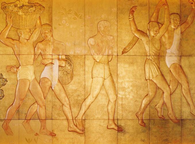 <p>由漆器工艺大师让·杜南创作的作品,表现了诺曼底号邮轮启航时葡萄采收的舞蹈场景</p>