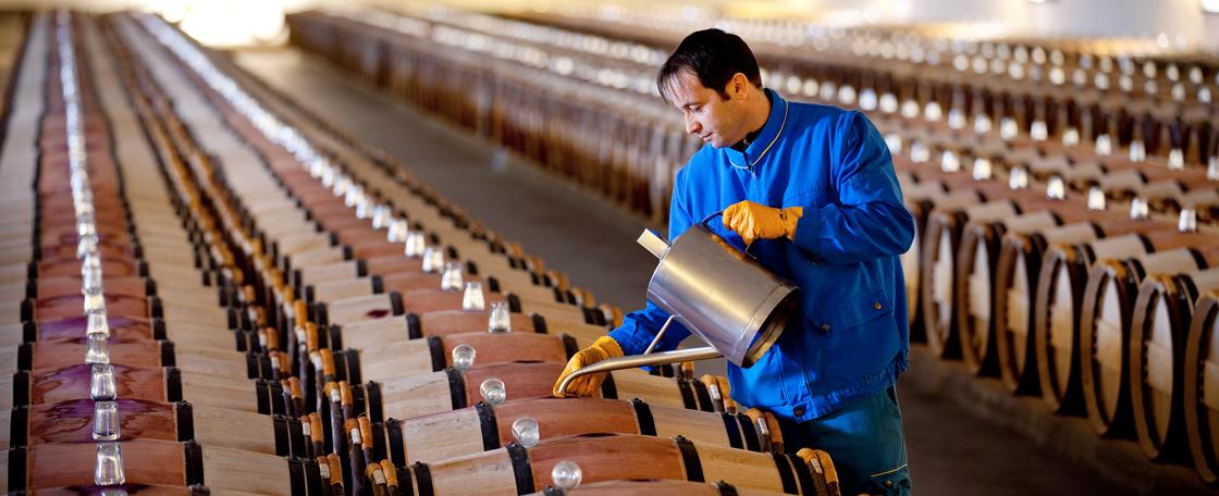 定期为橡木桶添满葡萄酒,来弥补因蒸发带来的损失
