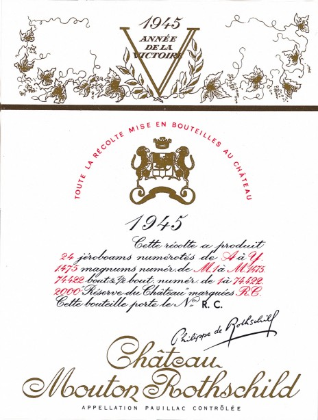 Etiquette Mouton Rothschild 1945