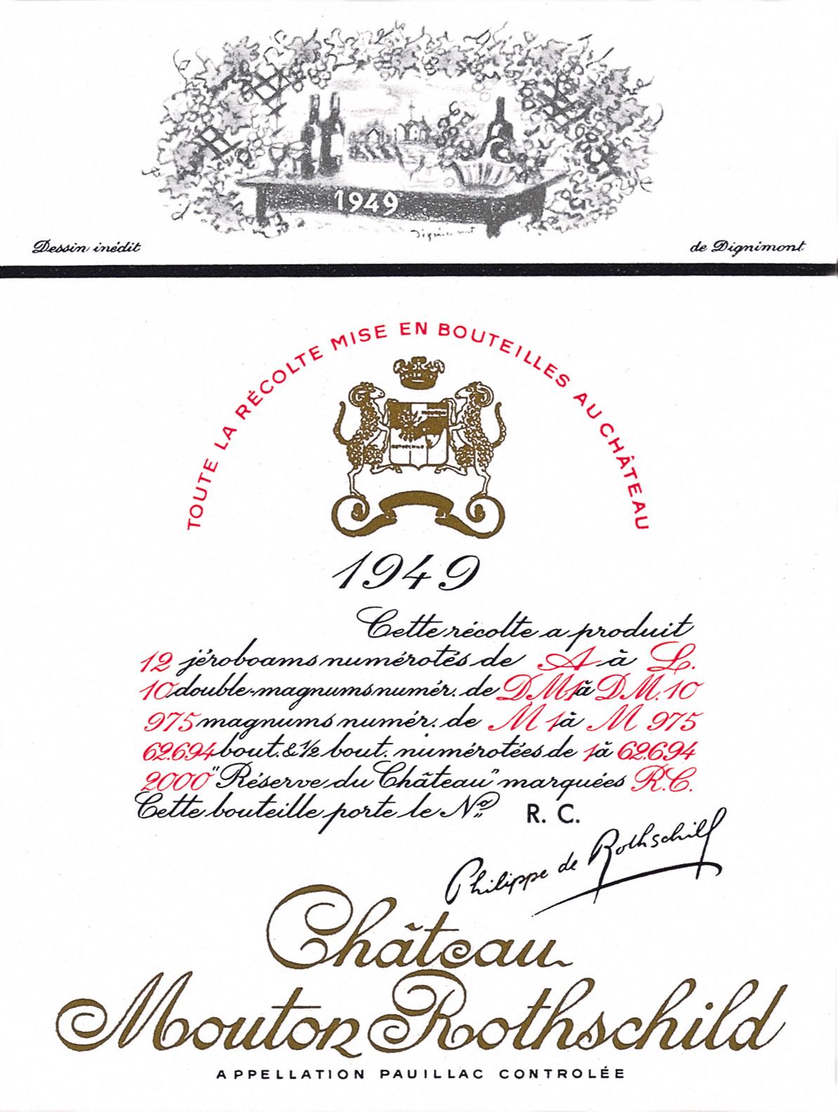 Etiquette Mouton Rothschild 1949