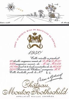 Etiquette Mouton Rothschild 1950
