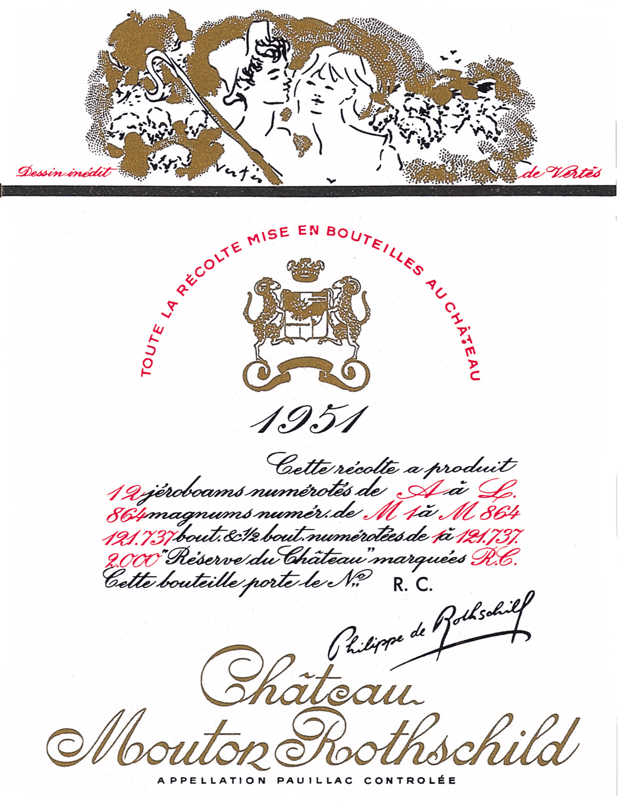 Etiquette Mouton Rothschild 1951