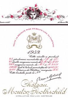 Etiquette Mouton Rothschild 1952