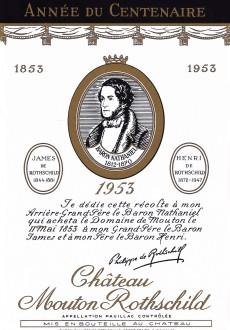 Etiquette Mouton Rothschild 1953