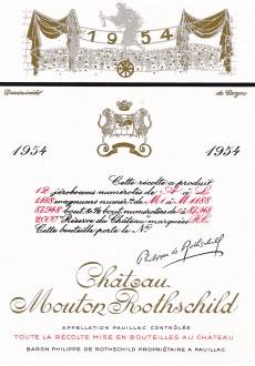 Etiquette Mouton Rothschild 1954
