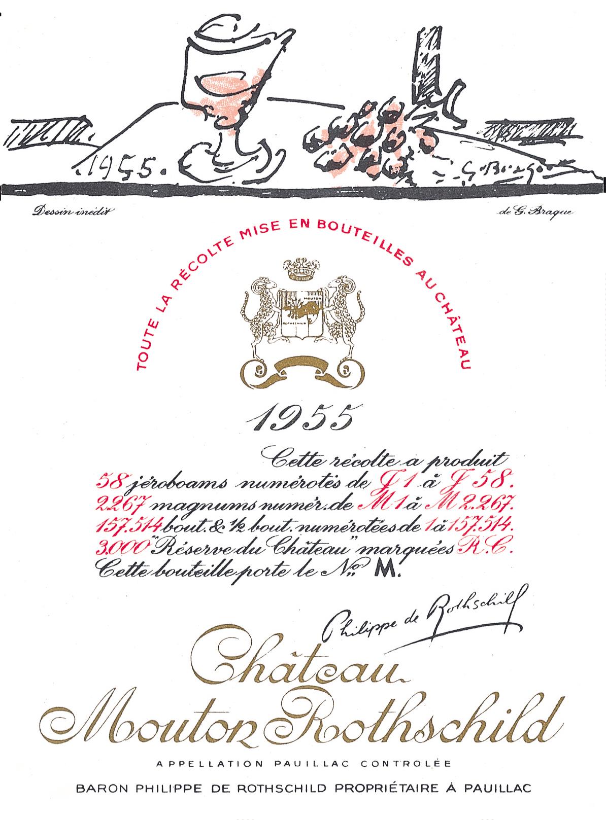 Etiquette Mouton Rothschild 1955