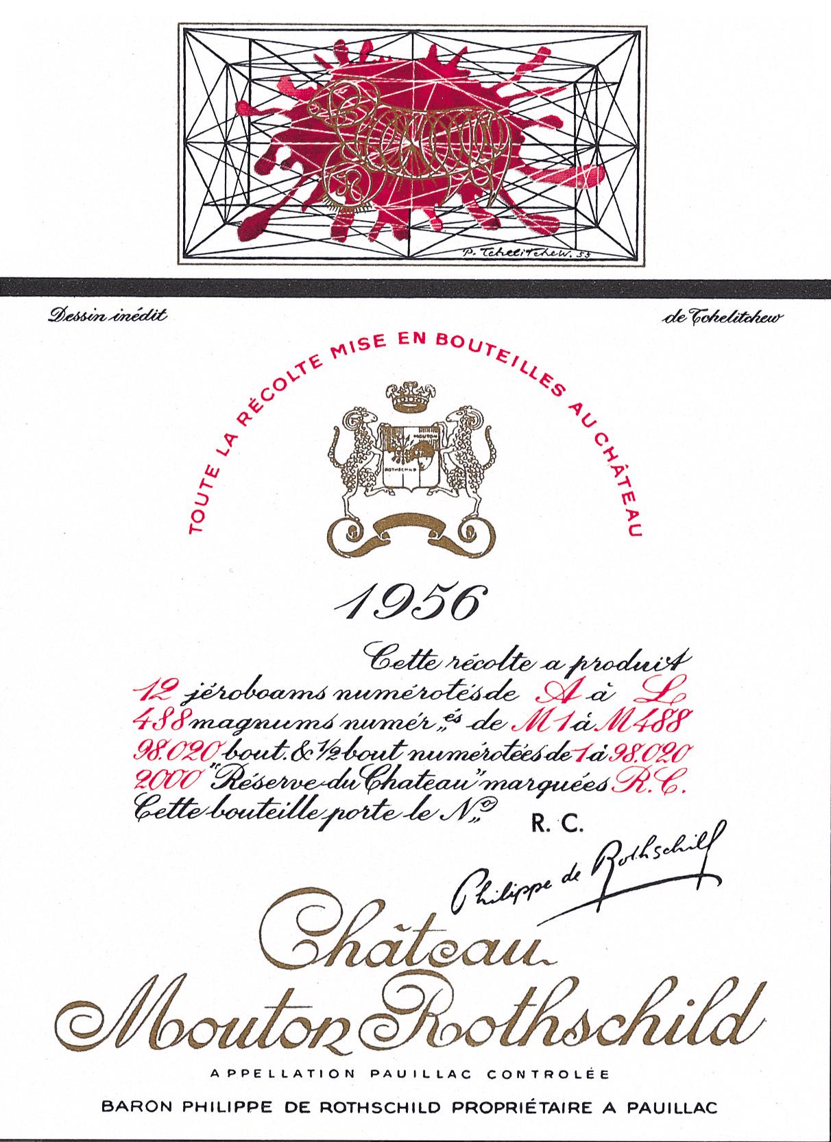 Etiquette Mouton Rothschild 1956