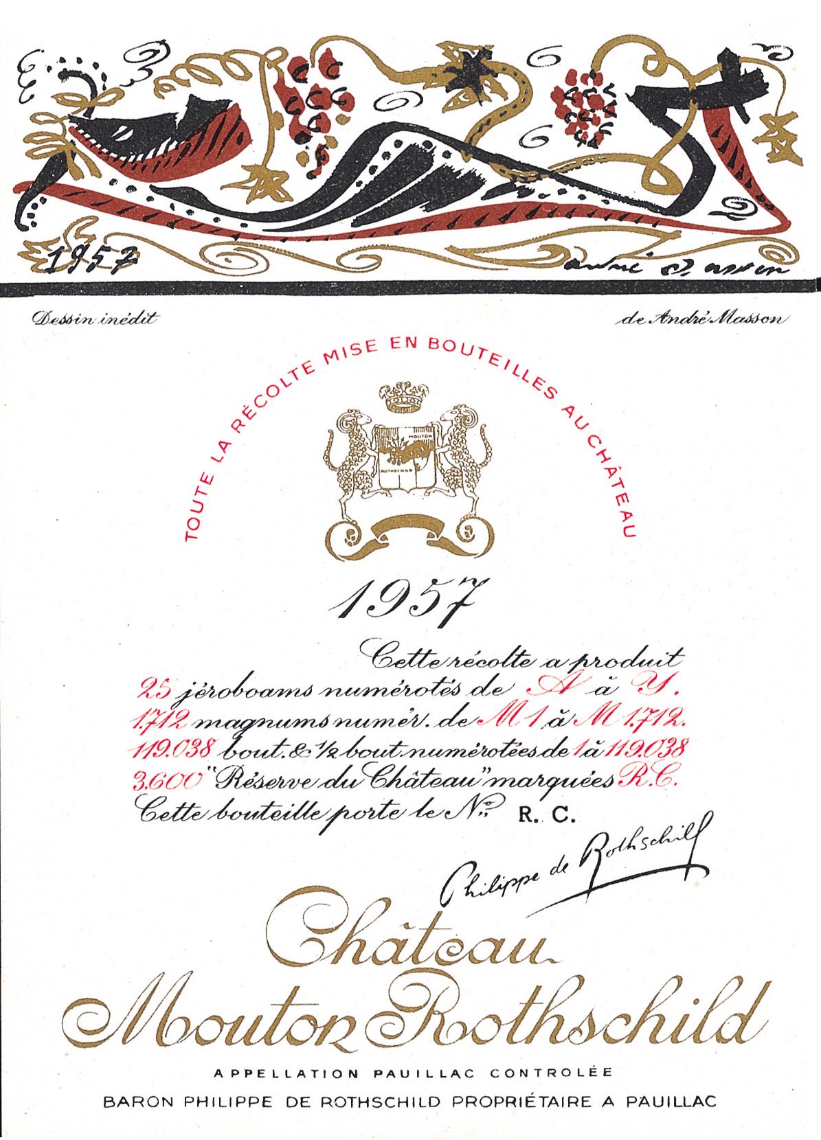 Etiquette Mouton Rothschild 1957