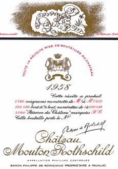 Etiquette Mouton Rothschild 1958