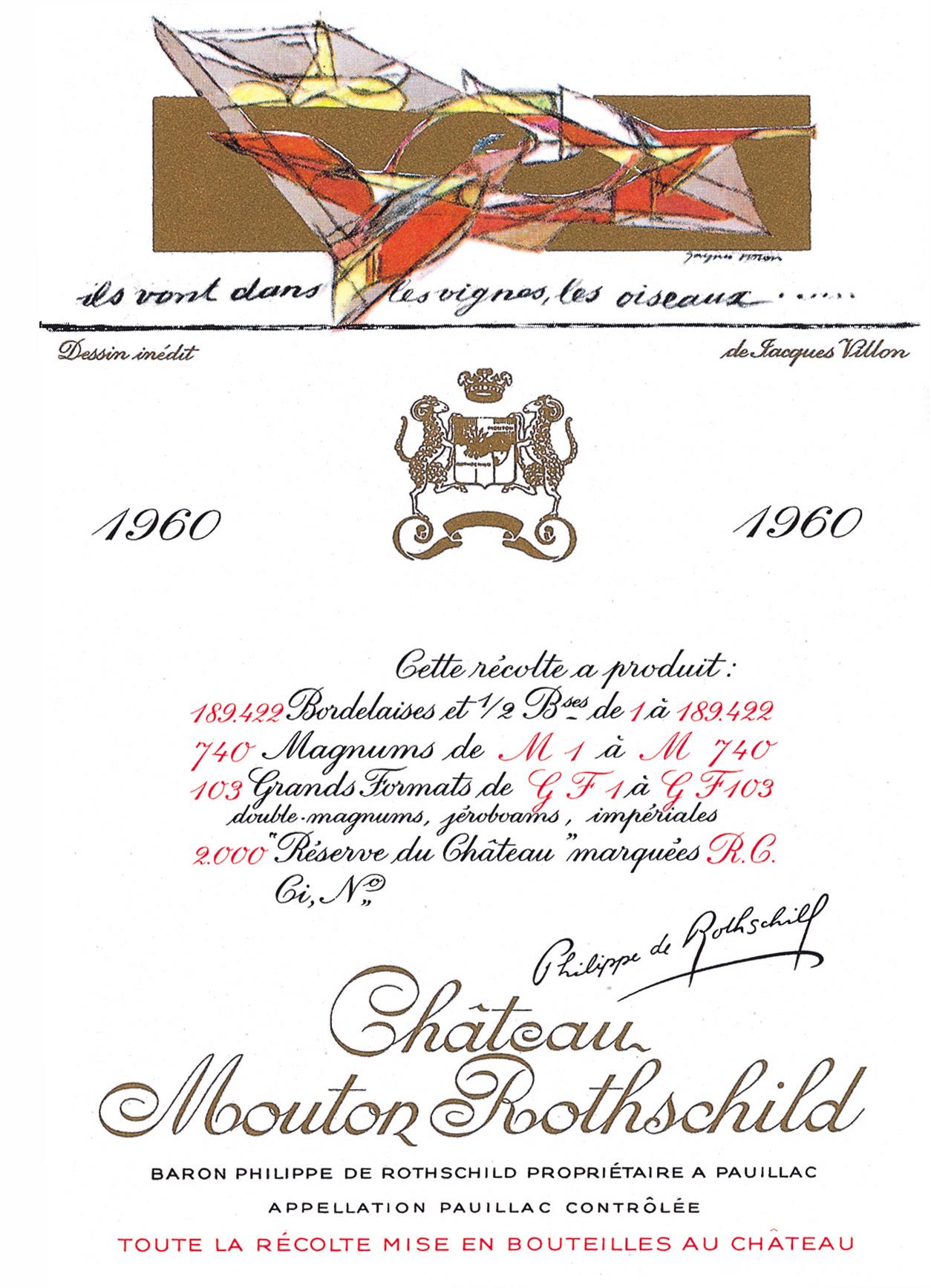 Etiquette Mouton Rothschild 1960
