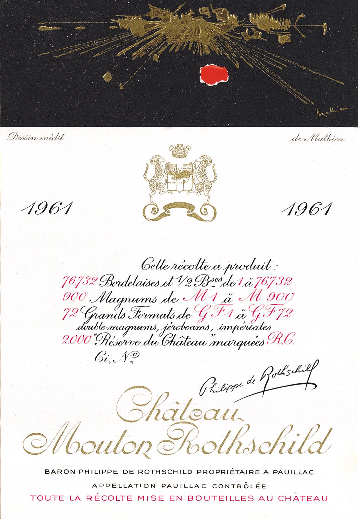 Etiquette Mouton Rothschild 1961