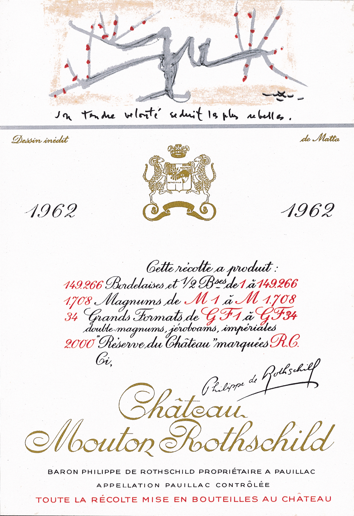 Etiquette Mouton Rothschild 1962