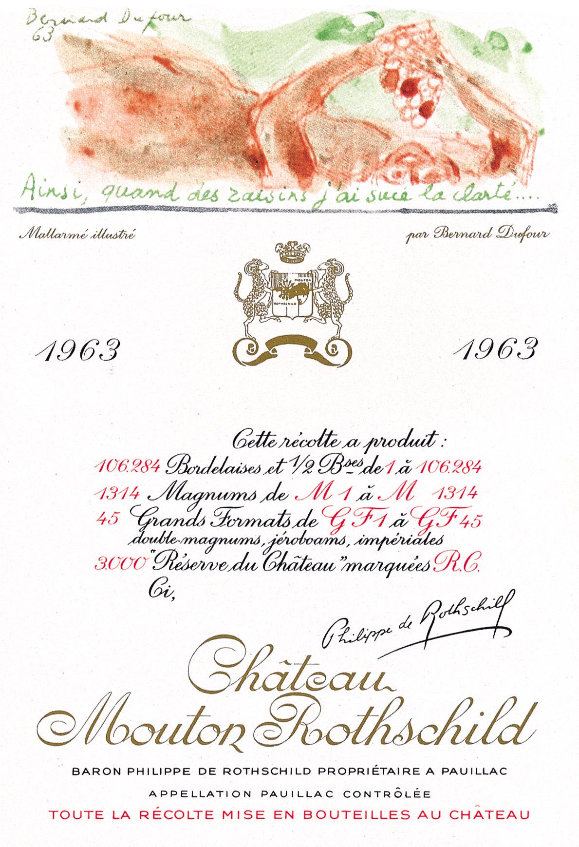 Etiquette Mouton Rothschild 1963