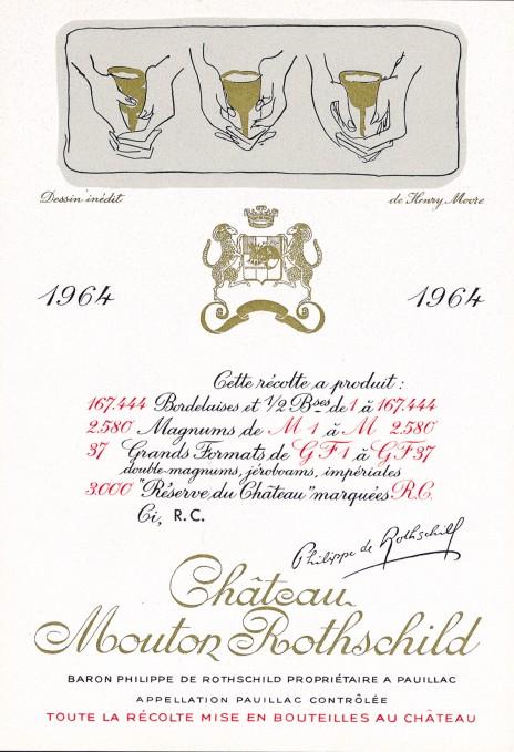 Etiquette Mouton Rothschild 1964