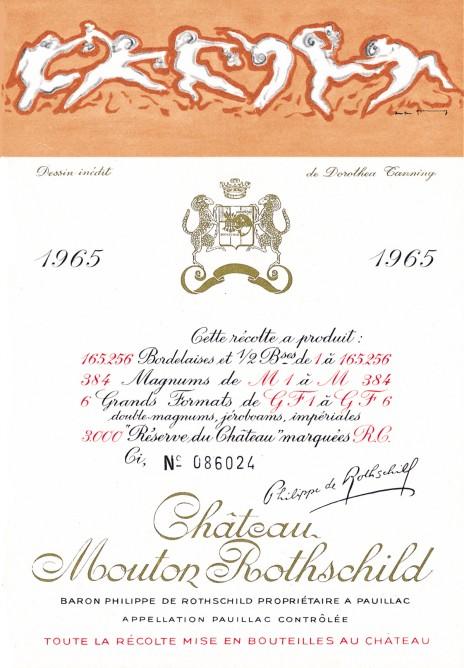 Etiquette Mouton Rothschild 1965