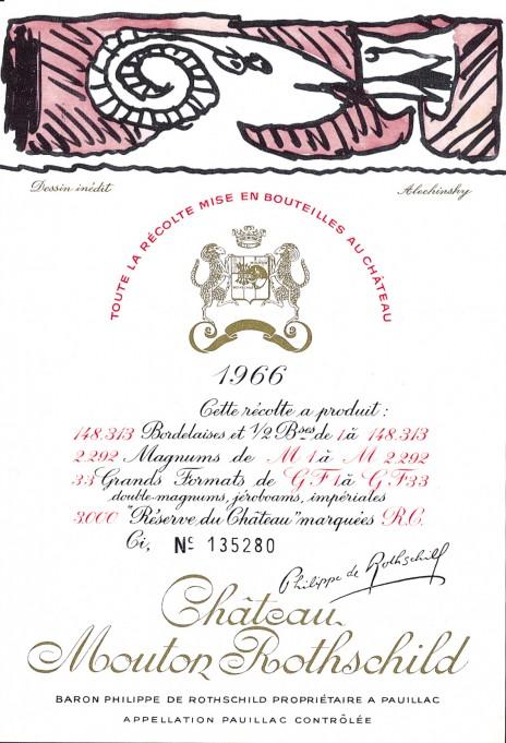 Etiquette Mouton Rothschild 1966