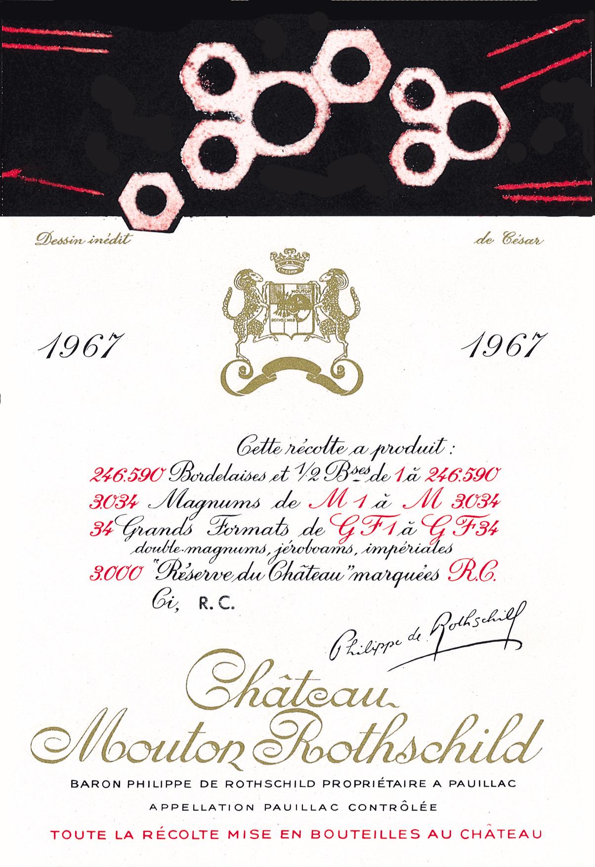 Etiquette Mouton Rothschild 1967