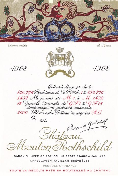 Etiquette Mouton Rothschild 1968
