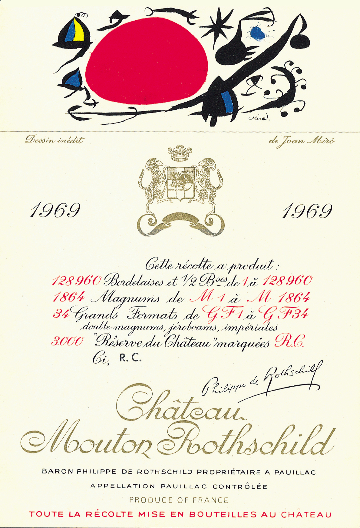Etiquette Mouton Rothschild 1969