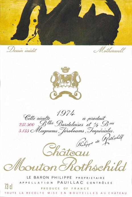 Etiquette Mouton Rothschild 1974
