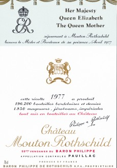 Etiquette Mouton Rothschild 1977
