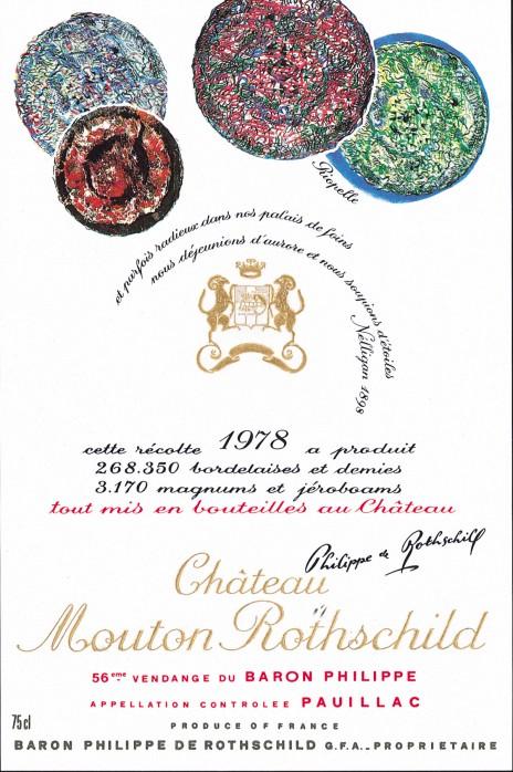 Etiquette Mouton Rothschild 1978