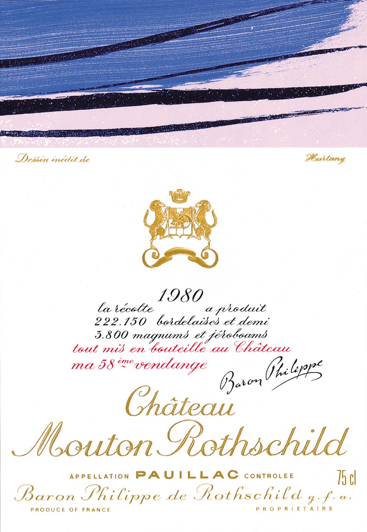 Etiquette Mouton Rothschild 1980