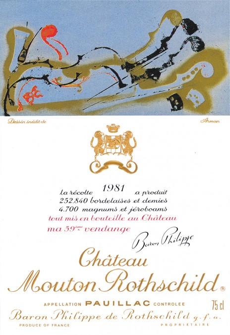 Etiquette Mouton Rothschild 1981