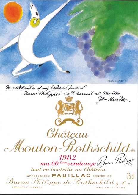 John Huston - Etiquette Mouton Rothschild 1982