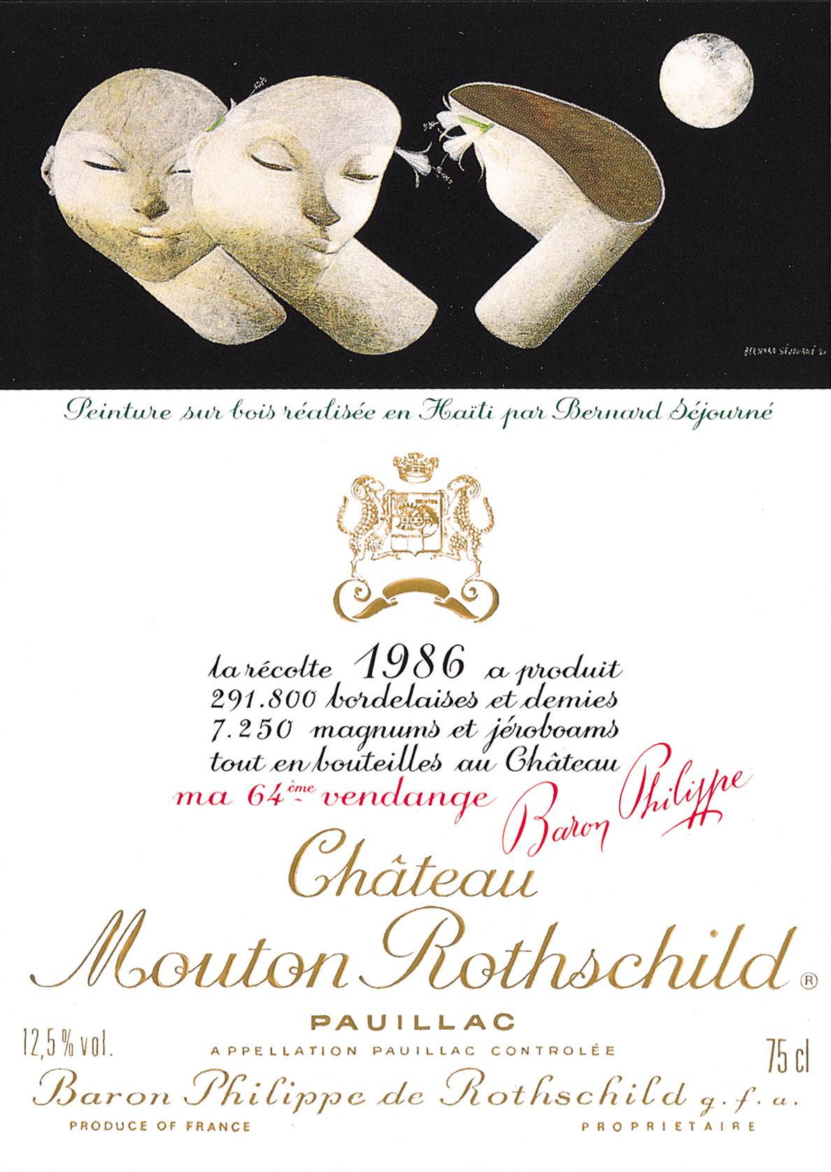 Etiquette Mouton Rothschild 1986