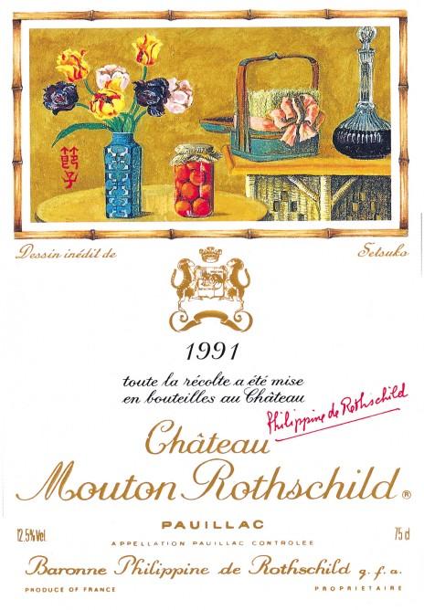 Etiquette Mouton Rothschild 1991
