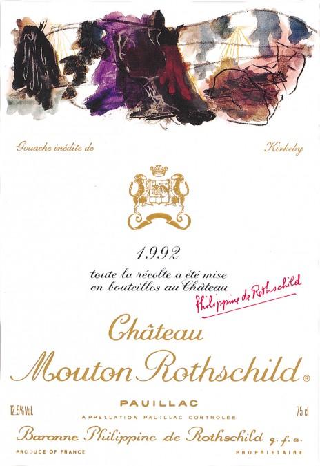 Etiquette Mouton Rothschild 1992