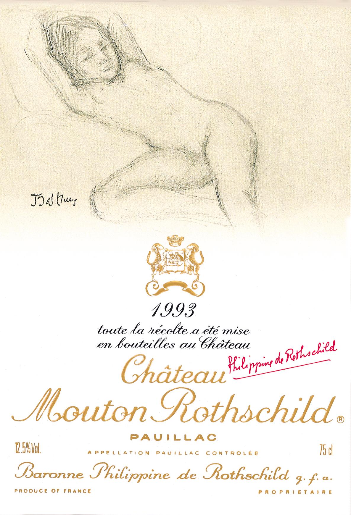 Etiquette Mouton Rothschild 1993
