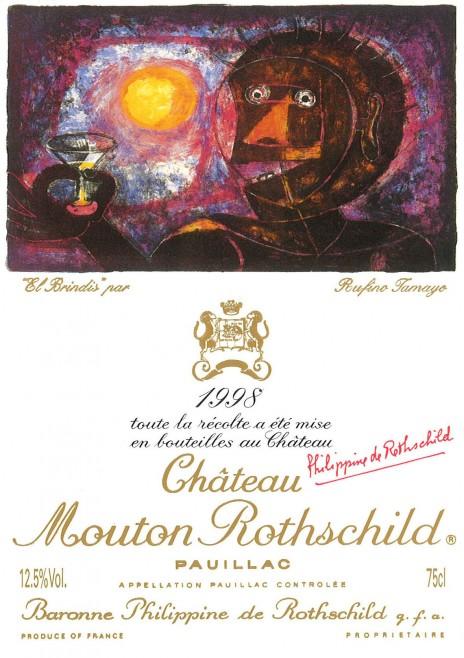 Etiquette Mouton Rothschild 1998