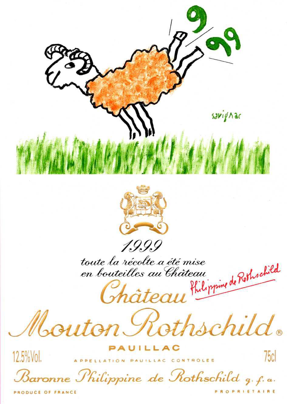 Etiquette Mouton Rothschild 1999