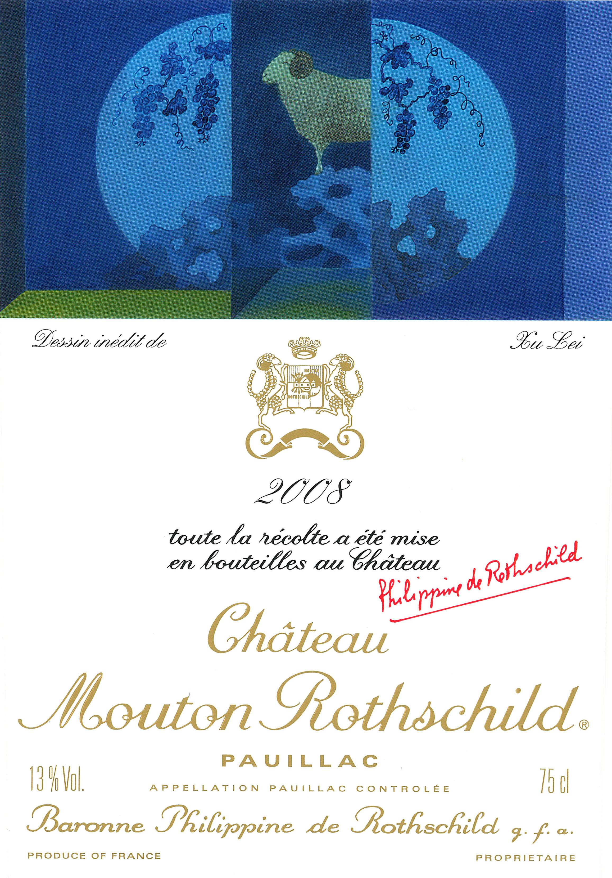 Etiquette Mouton Rothschild 2008