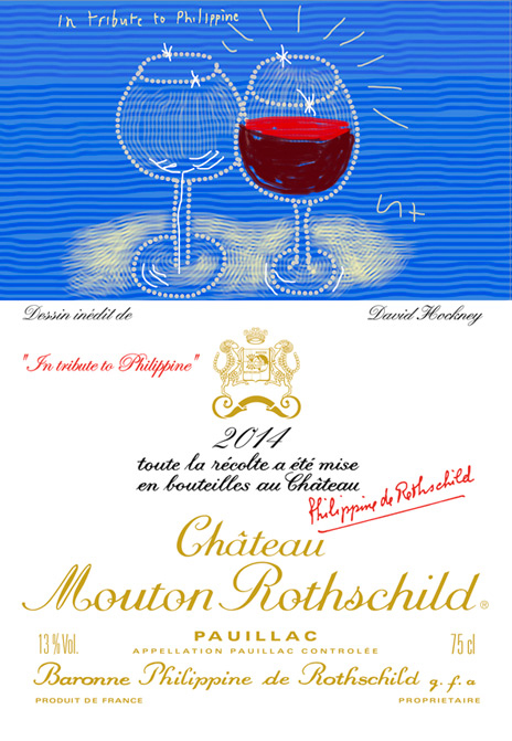 Chateau Mouton Rothschild 2014 label David Hockney