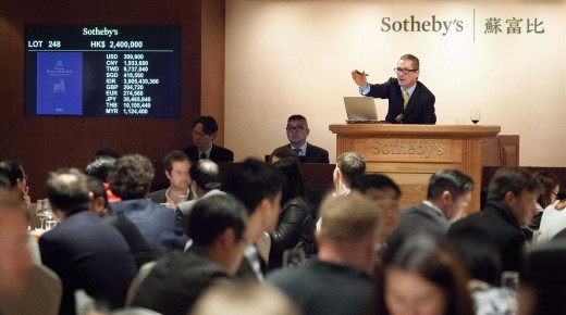 Jamie Ritchie selling the evening's top lot which sets world record for a Mouton vertical