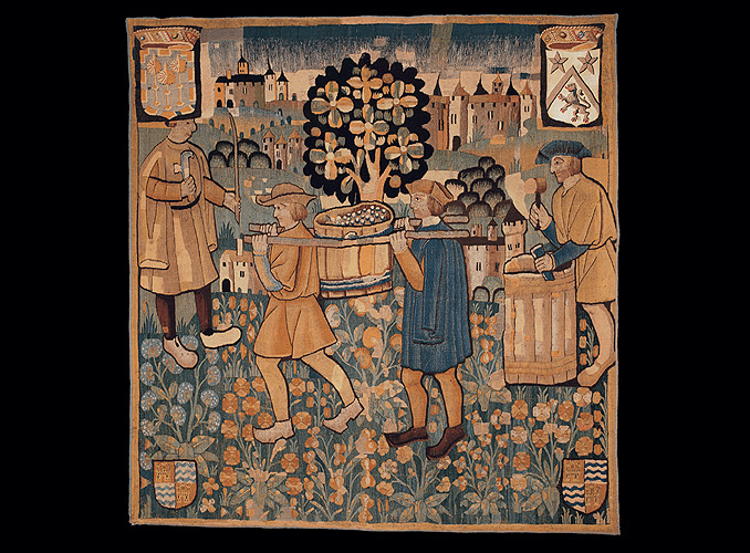 <p><b>The Tub</b><br /> Tapestry, part of a five-piece set depicting winemaking tasks – Wool</p> <p>Height 270 cm, width 275 cm<br /> Southern Netherlands–First quarter of the 16<sup>th</sup>century</p>