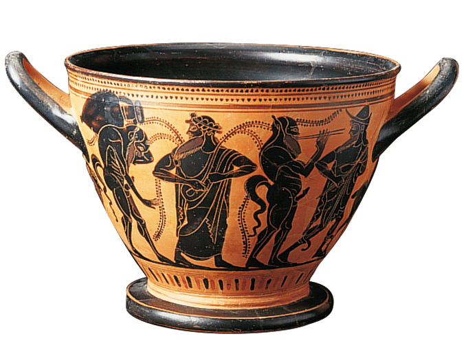 <p><b><em>Skyphos</em> – Theseus painter</b></p> <p>Black-figure terracotta – Height 17 cm<br /> Greece – 520-510 B.C.</p>
